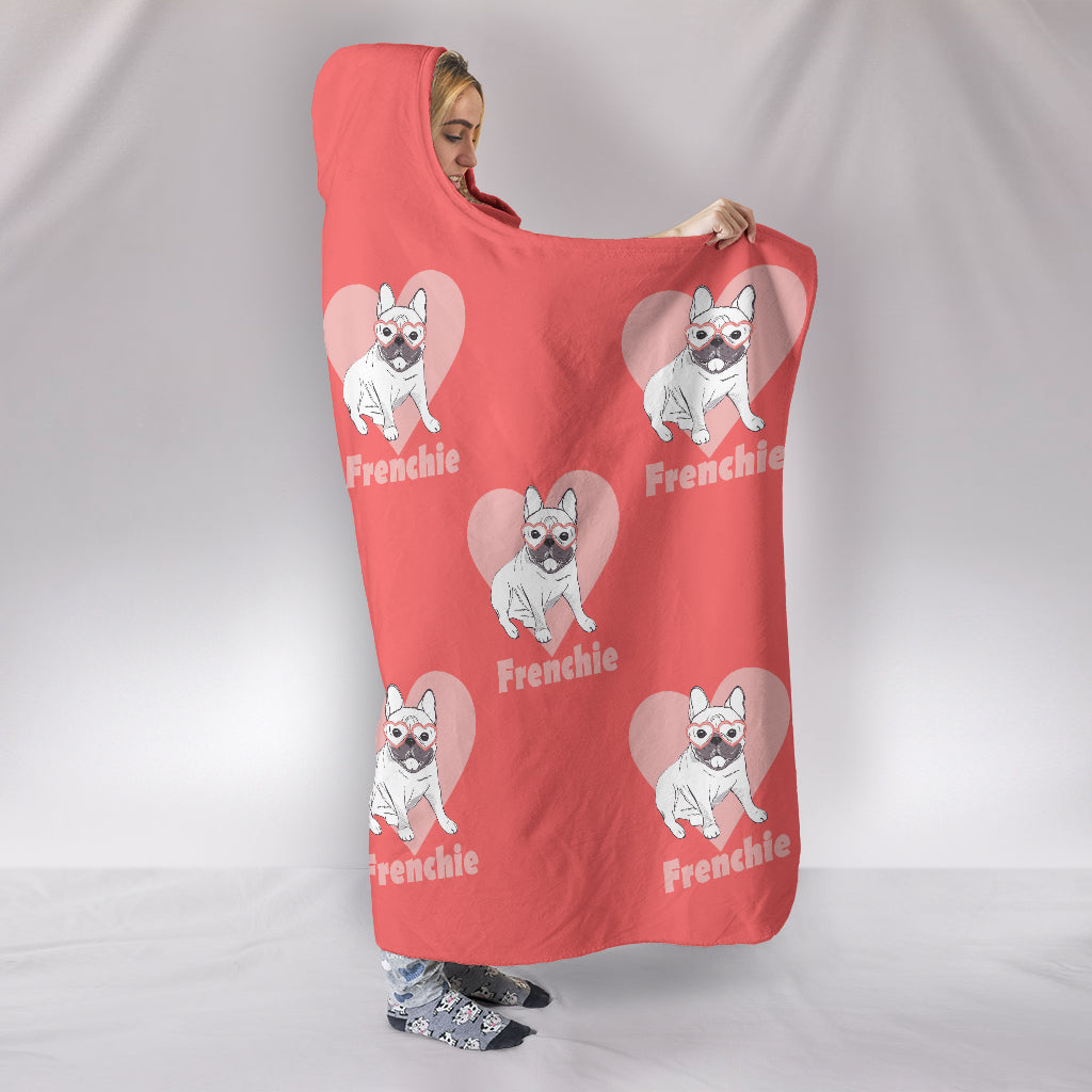 Frenchie White - French Bulldog Hooded Blanket - frenchie Shop