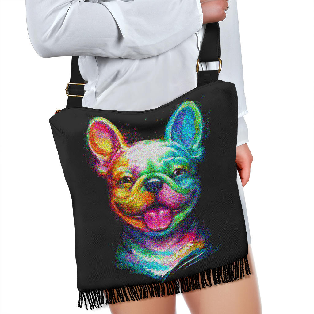 Puppy Painting Frenchie - French Bulldog Boho Handbag - Frenchie Bulldog Shop