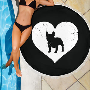 Heart Frenchie - French Bulldog Beach Blanket