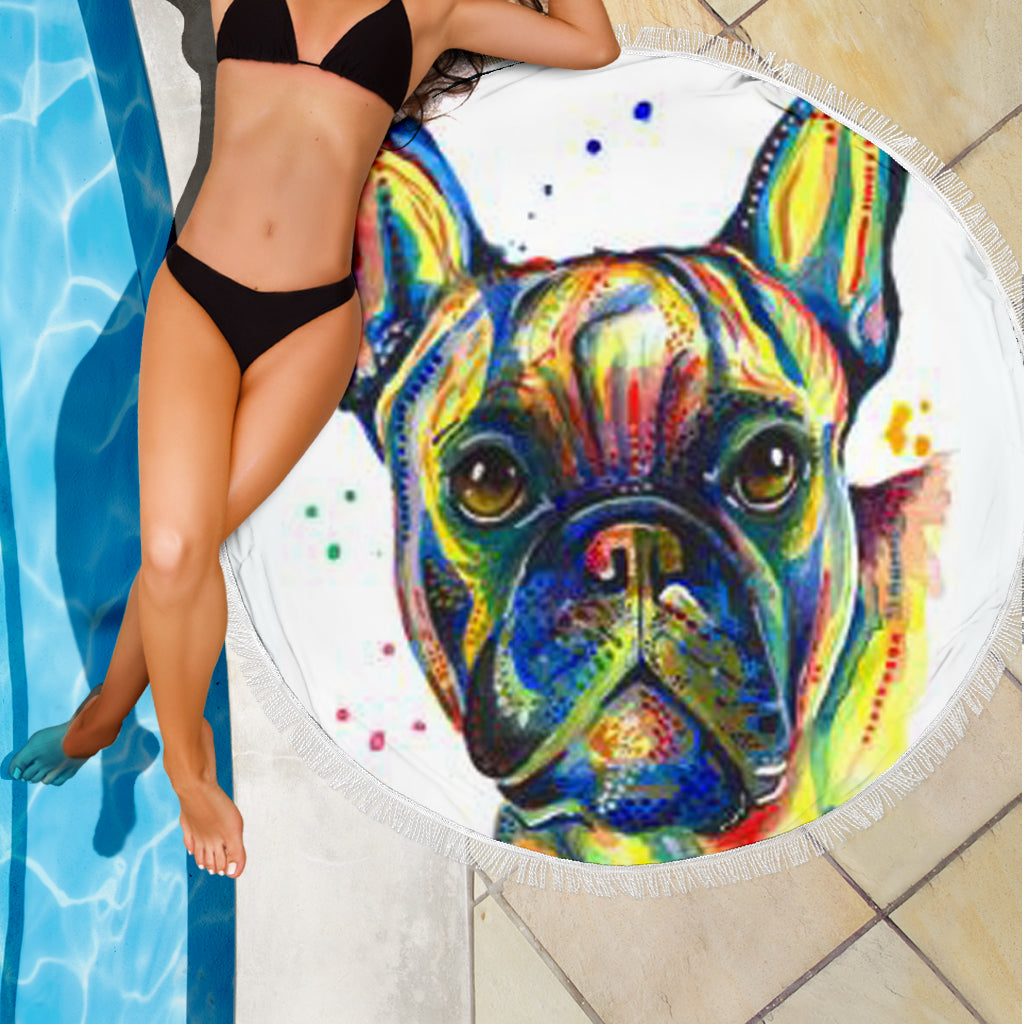 Abstract Frenchie - French Bulldog Beach Blanket - frenchie Shop