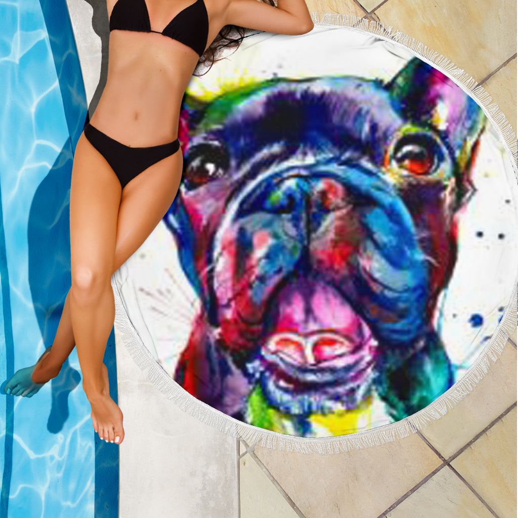Abstract Frenchie - French Bulldog Beach Blanket