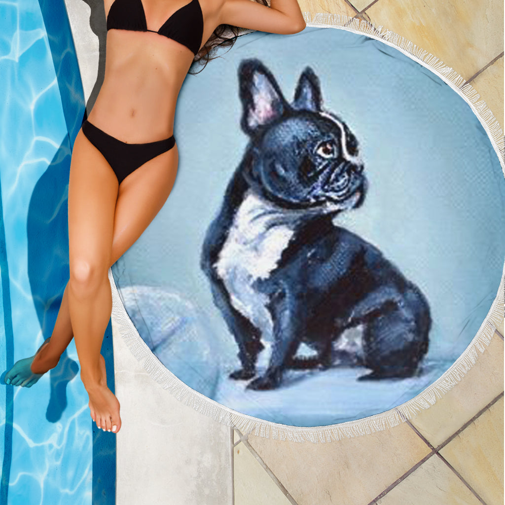 Black Frenchie Model - French Bulldog Beach Blanket