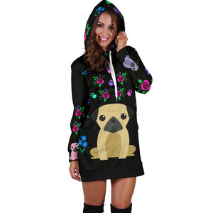 Charming Pugs Hoodie Dress with Cute Pug Dogs - frenchie Shop