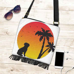 Palm Sunset Frenchie - French Bulldog Boho Handbag - Frenchie Bulldog Shop