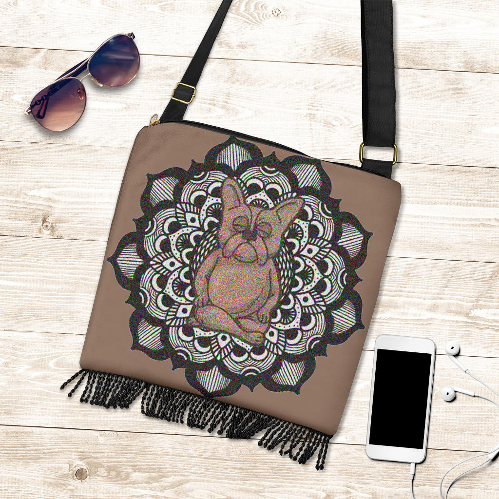 Yoga Meditation Frenchie - French Bulldog Boho Handbag - Frenchie Bulldog Shop