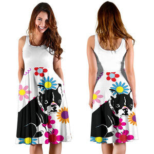 Frenchie Black Silhouette with a Flower - French Bulldog Women Dress