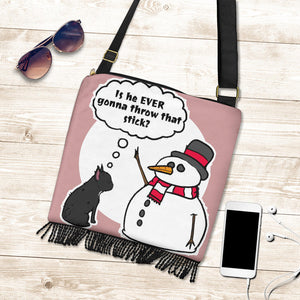 Funny Snowman Frenchie - French Bulldog Boho Handbag - Frenchie Bulldog Shop