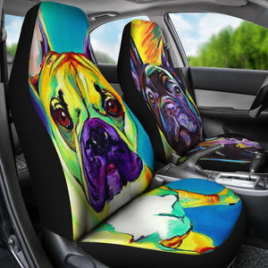 Colorful Frenchie  - French Bulldog Car Seat - frenchie Shop