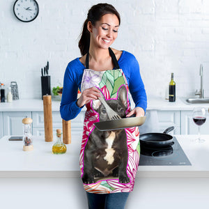Flower Black Frenchie - French Bulldog Women Apron - frenchie Shop