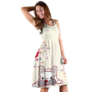 Frenchie White with Flower - French Bulldog Women Dress