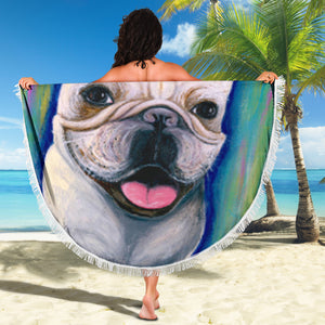 Painting Frenchie Happy - French Bulldog Beach Blanket