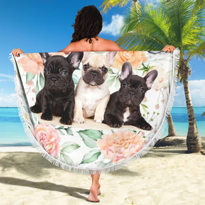 Flower Three Frenchie - French Bulldog Beach Blanket