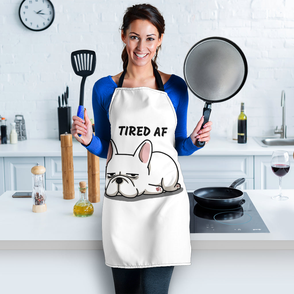 Tired AF Frenchie - French Bulldog Women Apron - frenchie Shop