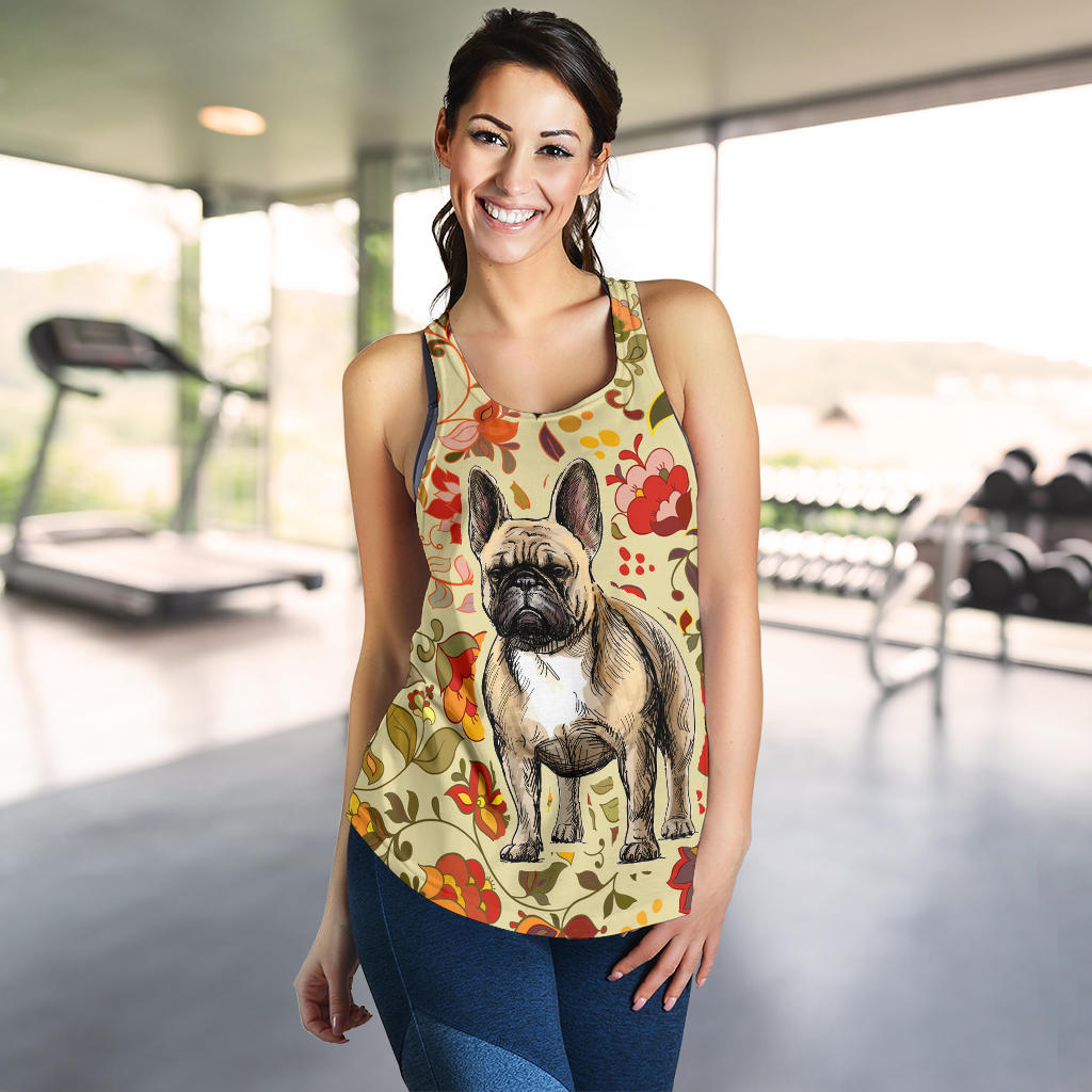 Flower Brown Frenchie - French Bulldog Tank Top Women - frenchie Shop
