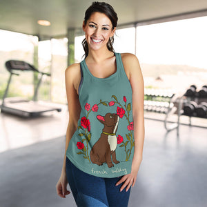 Flower Cute Frenchie - French Bulldog Tank Top Women - frenchie Shop