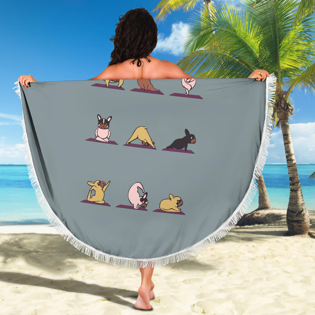 Yoga Pose Frenchie - French Bulldog Beach Blanket - Frenchie Bulldog Shop