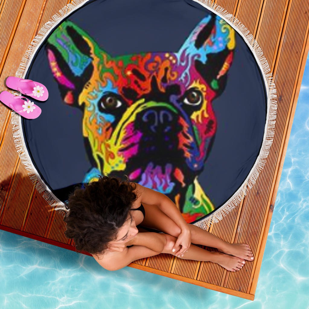 Painting Frenchie - French Bulldog Beach Blanket - frenchie Shop