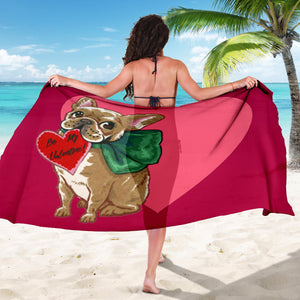 Heart Cute Frenchie - French Bulldog Sarong - frenchie Shop