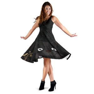 Frenchie Black Golden Flower - French Bulldog Women Dress - frenchie Shop