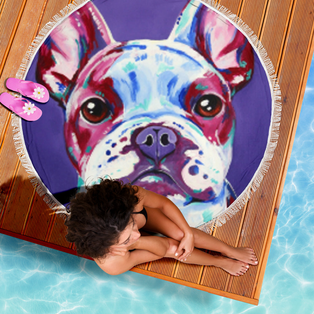 Paint Frenchie - French Bulldog Beach Blanket