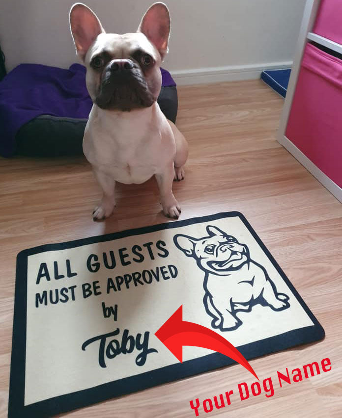 All guest - Custom DoorMat with name - Frenchie Bulldog Shop