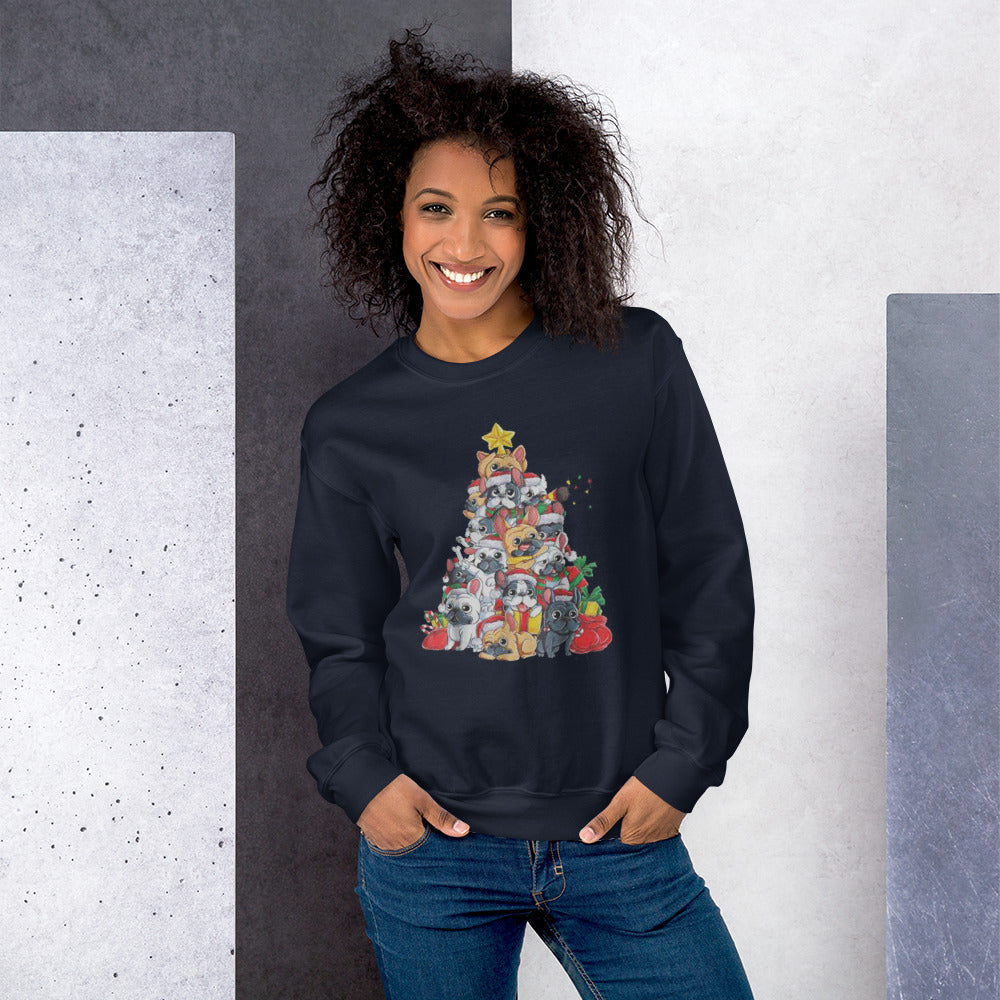 Christmas Tree - Unisex Sweatshirt - Frenchie Bulldog Shop