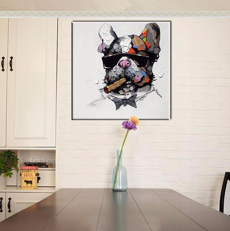 Smoking Frenchie - Handmade  Canvas - frenchie Shop