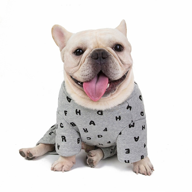 Letter Print Winter Clothes for French Bulldog (WS310) - Frenchie Bulldog Shop