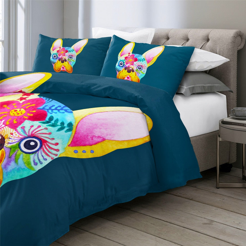 Duvet Cover Colorful French Bulldog Bedding Set - Frenchie Bulldog Shop