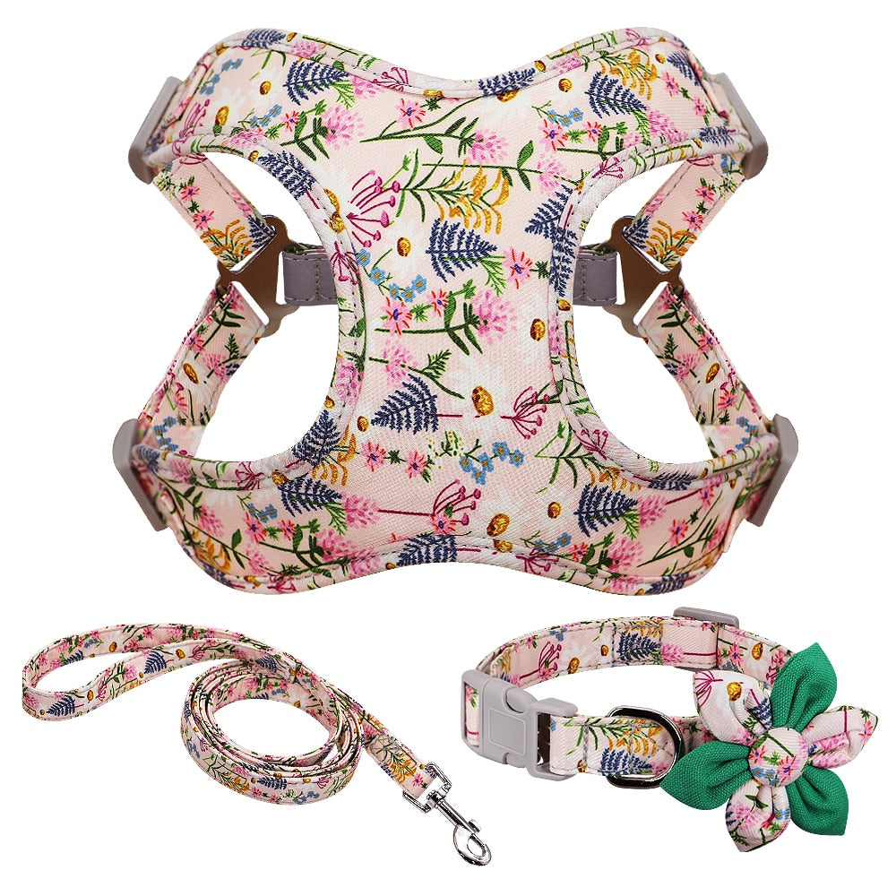 Flower Printed Harness Set for French Bulldog (WS243) - Frenchie Bulldog Shop