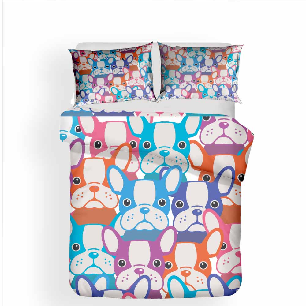 Duvet Cover Cartoon Printed French Bulldog Bedding Set - Frenchie Bulldog Shop