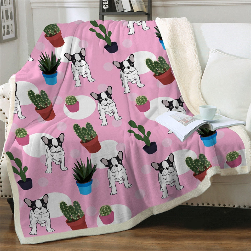 Sherpa French Bulldog Blanket - Frenchie Bulldog Shop