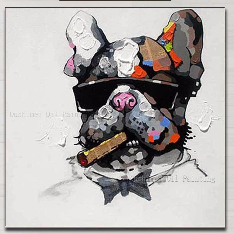 Smoking Frenchie - Handmade Canvas (WS70) - Frenchie Bulldog Shop