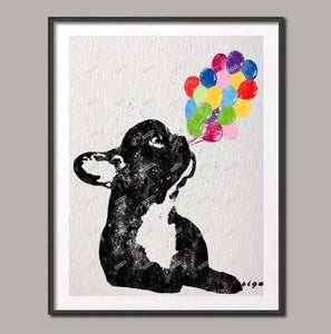French Bulldog with Balloon - canvas - frenchie Shop