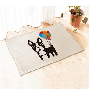 Frenchie with balloons - Bath Mats