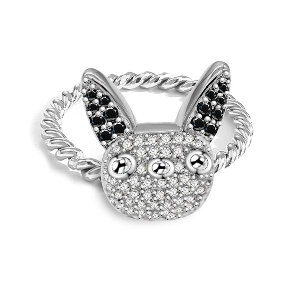 Silver French bulldog Ring