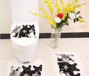 French Bulldog -  Bathroom Mats ( 3pcs)