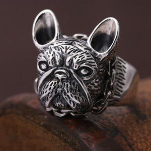 Frenchie ring  (100% Real 925 sterling silver)