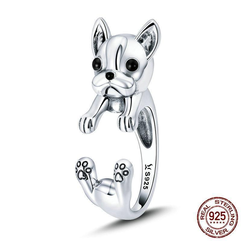 French Bulldog  Ring (100% 925 Sterling Silver)