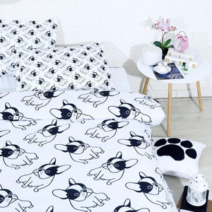 Black and White  Frenchies - Bed Sheets