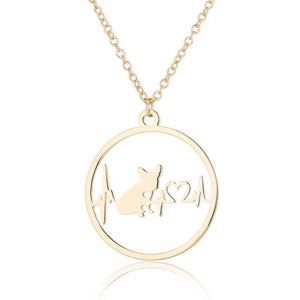 Heartbeat necklace for French Bulldog lovers - Frenchie Bulldog Shop