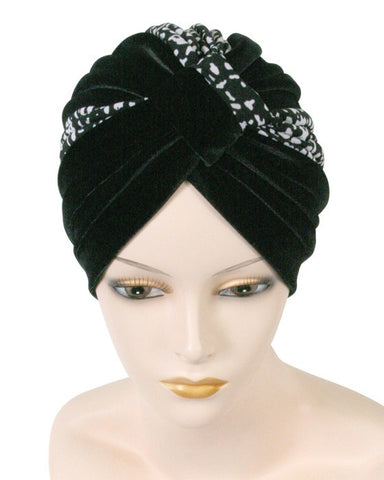 Fashionable Two Tone Velour Turban