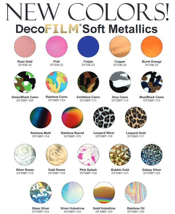 "Deco Soft Metallic 10 pk  (12""x10"") Heat Vinyl Transfer (HTV)"