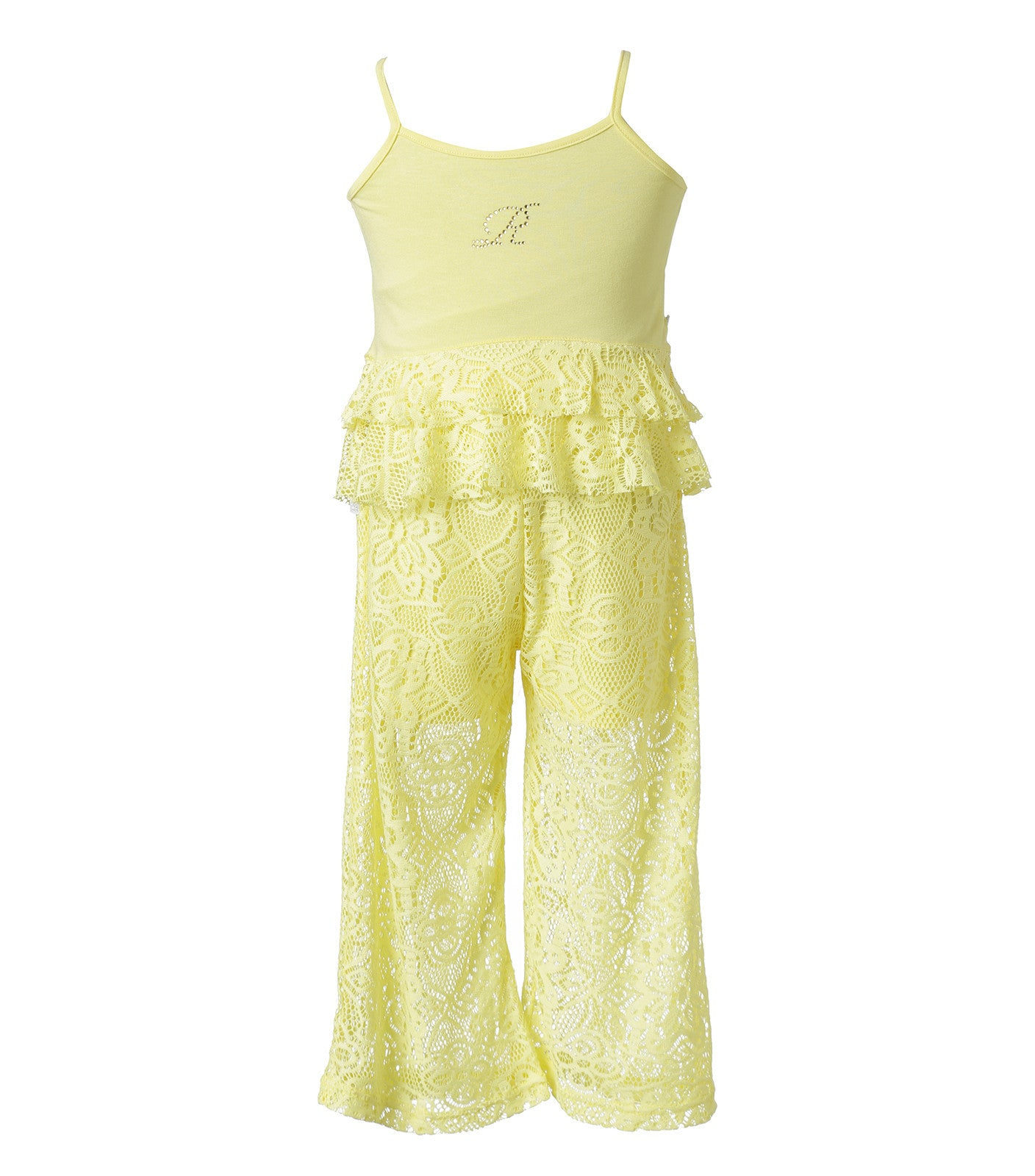 Girls Set Yellow Top & Lace Pants