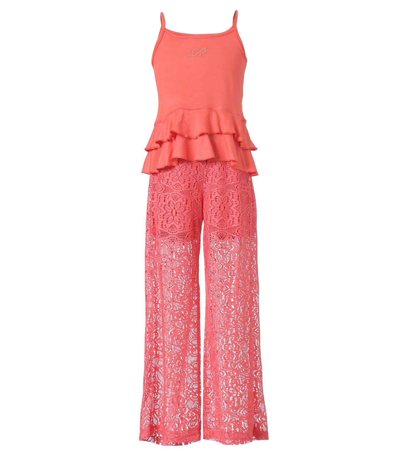 Girl Sets Coral Top and lace pants