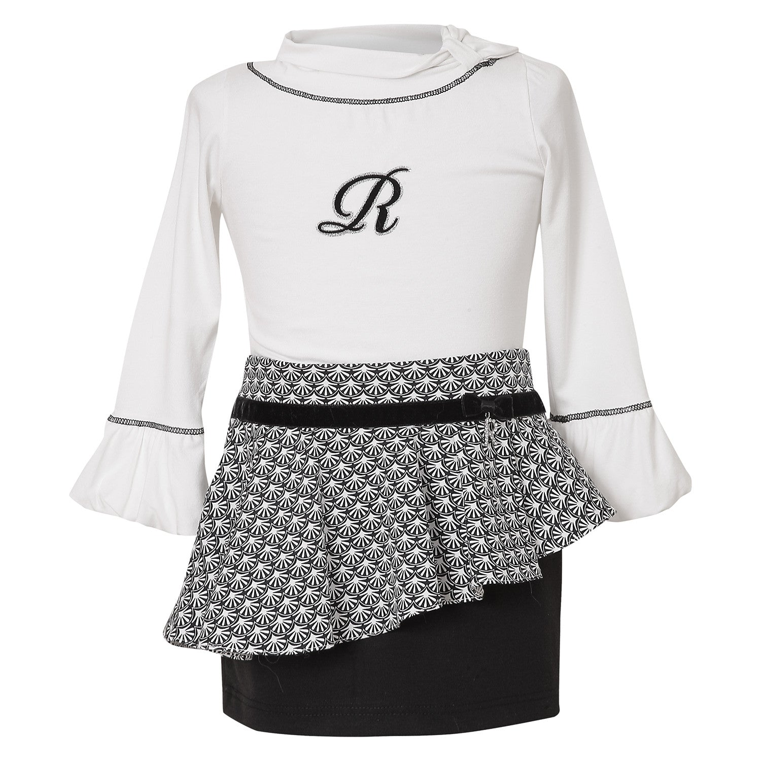 Ruffle Sleeve Blouse and skirt set for girls
