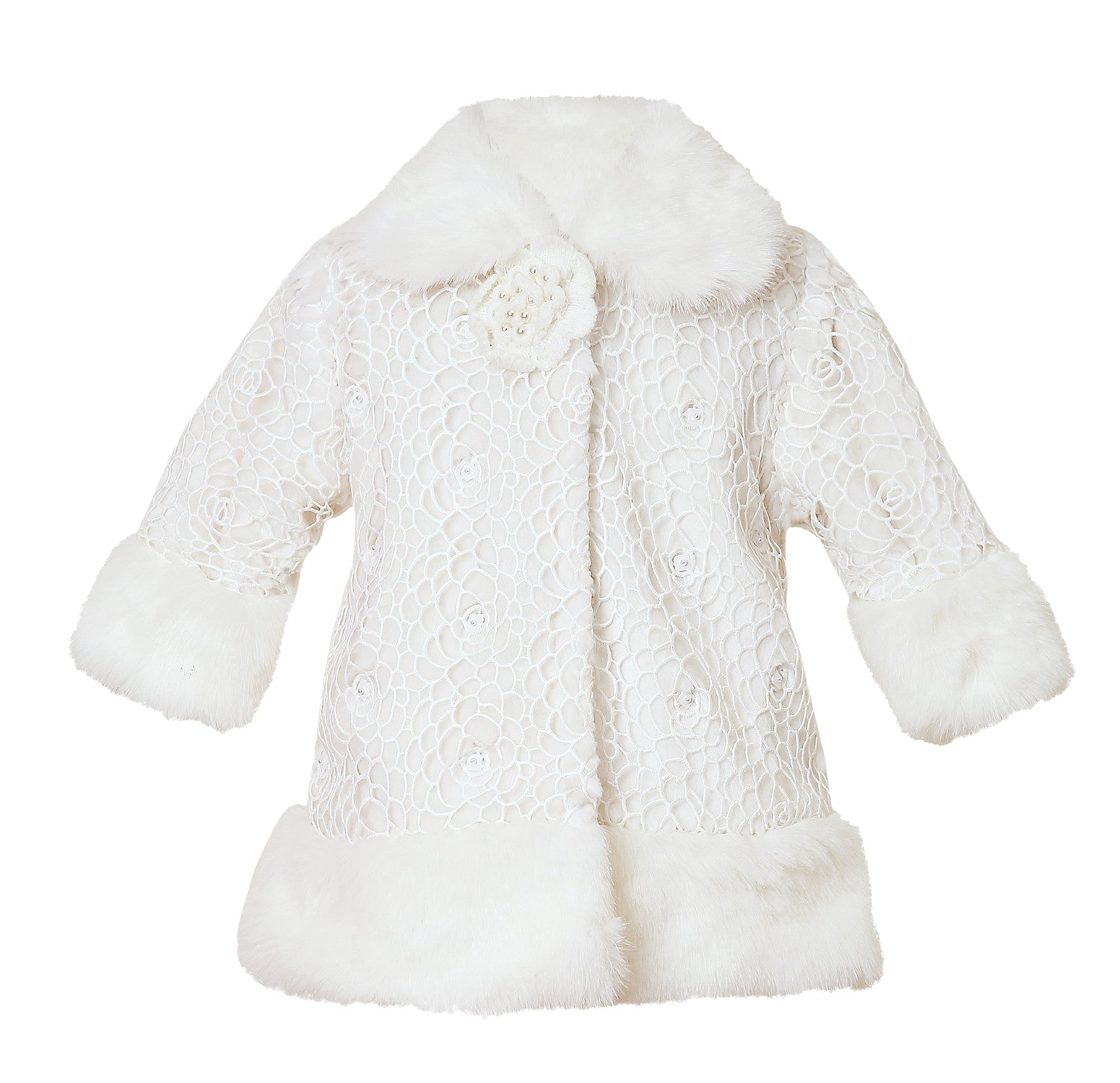 Baby Girl Stunning Embroidered Fur Coat