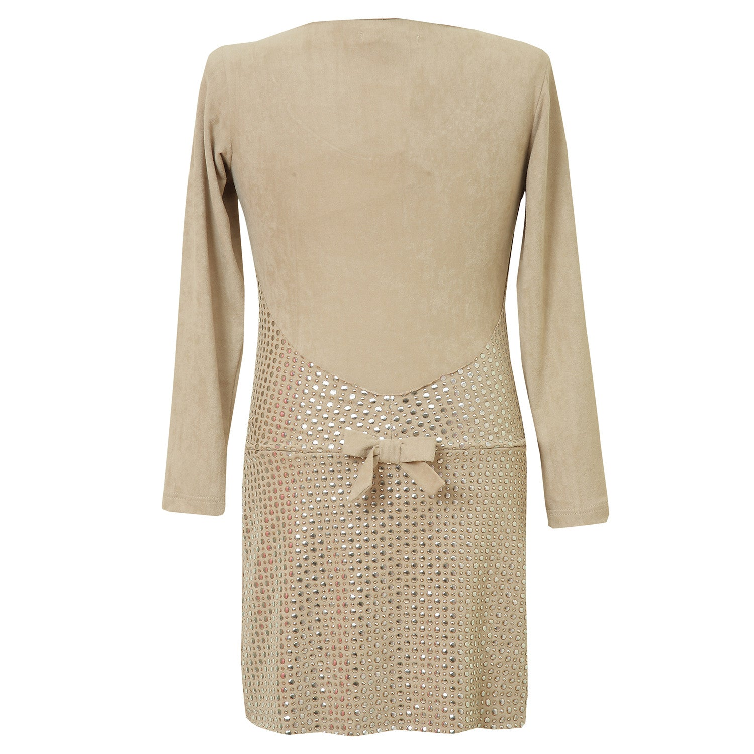 Girls Trendy Long Sleeve Dress in Beige