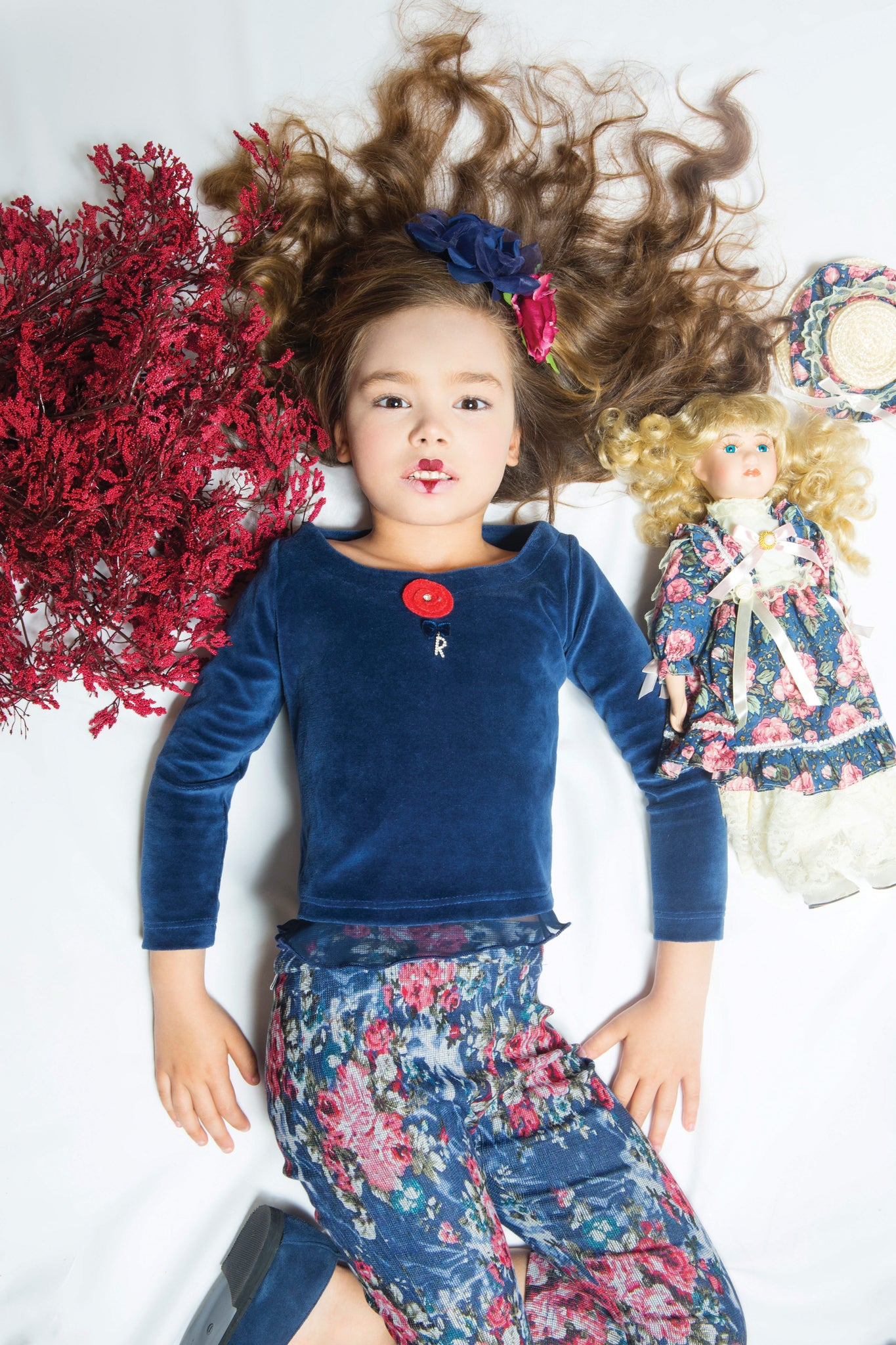 Floral in Blue and Red for girls