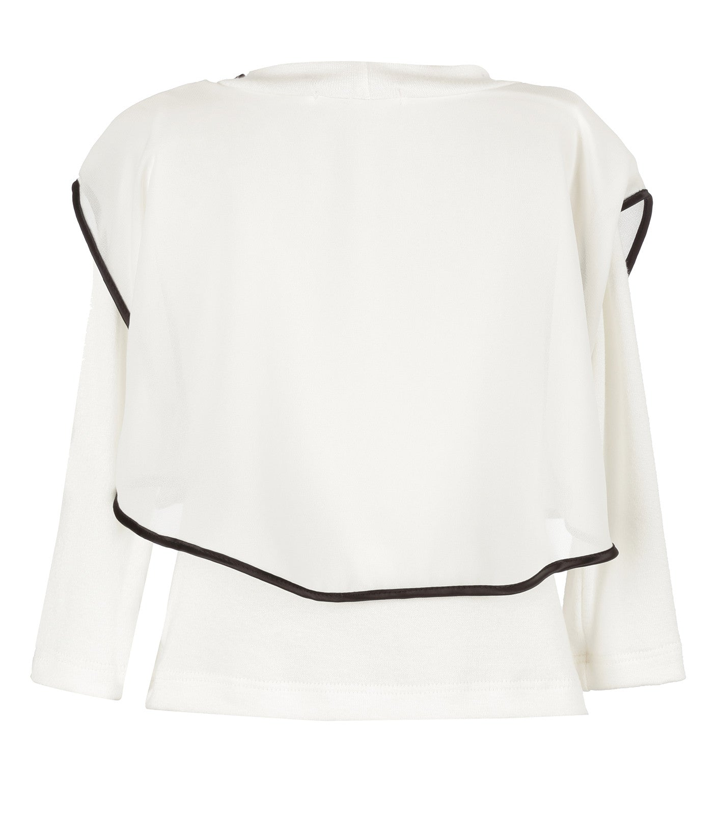 Girls Overlay Long Sleeve Blouse in Ivory